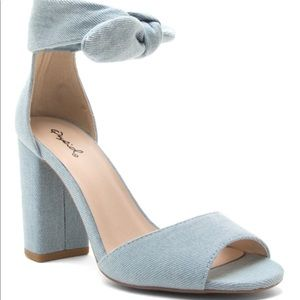 Light Blue Denim Block Heel Sandal